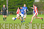 Cieran Doona Laune Rangerssets up an attack against Rathmore during their division 1 clash in Killorglin on Saturday