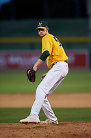 AZL Athletics Gold relief pitcher Chase Wheatcroft (50) during an Arizona League game against the AZL Giants Black on July 12, 2019 at Hohokam Stadium in Mesa, Arizona. The AZL Giants Black defeated the AZL Athletics Gold 9-7. (Zachary Lucy/Four Seam Images)