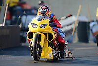 Oct. 5, 2012; Mohnton, PA, USA: NHRA pro stock motorcycle rider Scotty Pollacheck during qualifying for the Auto Plus Nationals at Maple Grove Raceway. Mandatory Credit: Mark J. Rebilas-