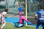 GER - Mannheim, Germany, April 15: During the field hockey 1. Bundesliga match between Mannheimer HC (blue) and Rot-Weiss Koeln (white) on April 15, 2018 at Am Neckarkanal in Mannheim, Germany. Final score 2-2.  Lukas Stumpf #4 of Mannheimer HC<br /> <br /> Foto &copy; PIX-Sportfotos *** Foto ist honorarpflichtig! *** Auf Anfrage in hoeherer Qualitaet/Aufloesung. Belegexemplar erbeten. Veroeffentlichung ausschliesslich fuer journalistisch-publizistische Zwecke. For editorial use only.
