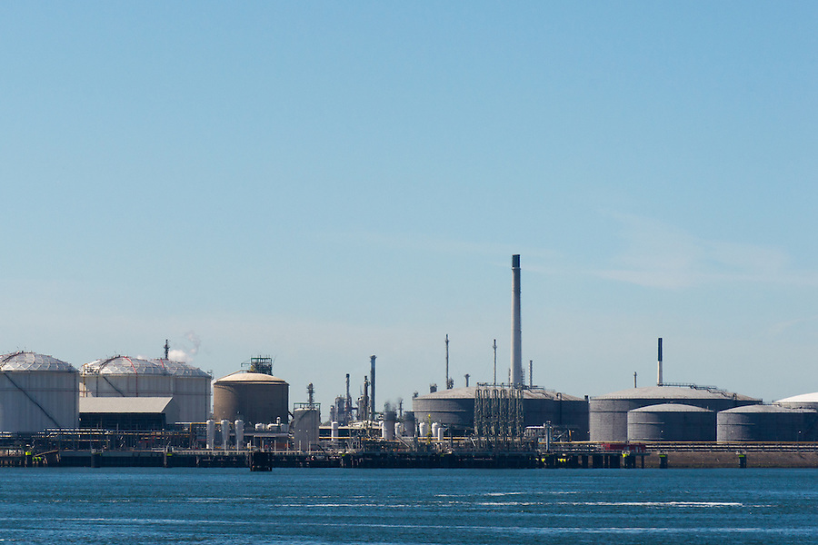 Various oil terminals in a harbor