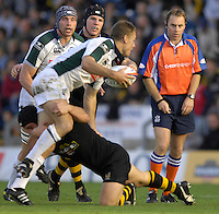 Wycombe, Great Britain, Exiles Michael HORAK, tackled watched by referee, Andrew SMALL, Nick KENNEDY, far left and James HASKELL. during the EDF Energy, Anglo Welsh, rugby Cup match, London Wasps vs London Irish,  at Adams Park, England, 08/10/2006. [Photo, Peter Spurrier/Intersport-images]....