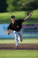 Delmarva Shorebirds relief pitcher Tyler Erwin (27) delivers a pitch to the plate against the Kannapolis Intimidators at Kannapolis Intimidators Stadium on July 2, 2017 in Kannapolis, North Carolina.  The Shorebirds defeated the Intimidators 5-4.  (Brian Westerholt/Four Seam Images)