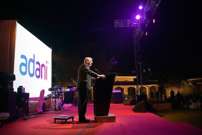 2 December 2012, Mundra, Gujurat, INDIA:  Federal Minister for Resources and Energy, Martin Ferguson,makes a speech in front of Queensland Premier Campbell Newman, delegates from Queensland business and Indian businessman Gautam Adani on a visit to Gujurat. Guests were treated to a performance of Queensland orchestra act Deep Blue at a private concert at the home of Mr. Adani. Deep Blue are in India as part of Oz Fest.   Picture by Graham Couch/DFAT