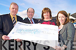 Mike and Mary Healy, pictured presenting a cheque for EUR11068.91 to Gerry Cully, community fundraising executive Childrens Medical Research foundation, from the Mary Kate Healy Christmas walk, also pictured is Kathleen Jordan, Bons Secours hospital, at the Killarney Oaks hotel on Wednesday.