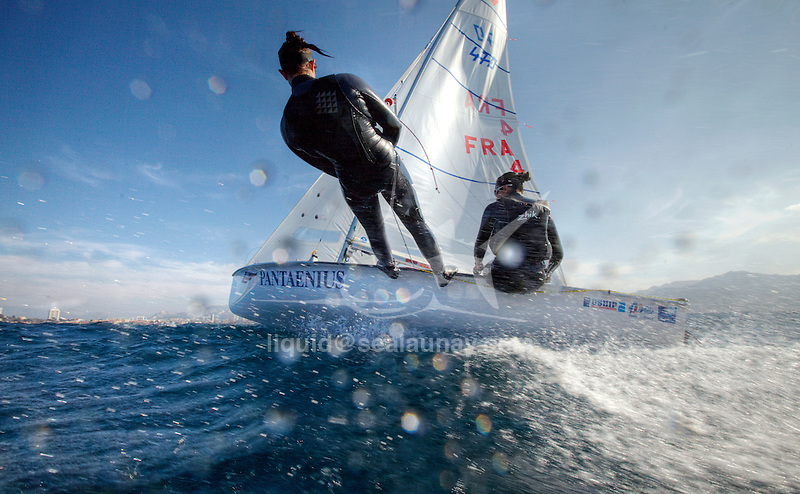 470 pair Ingrid Petitjean and Nadege Douroux training in Marseille  on a sunny and windy day.