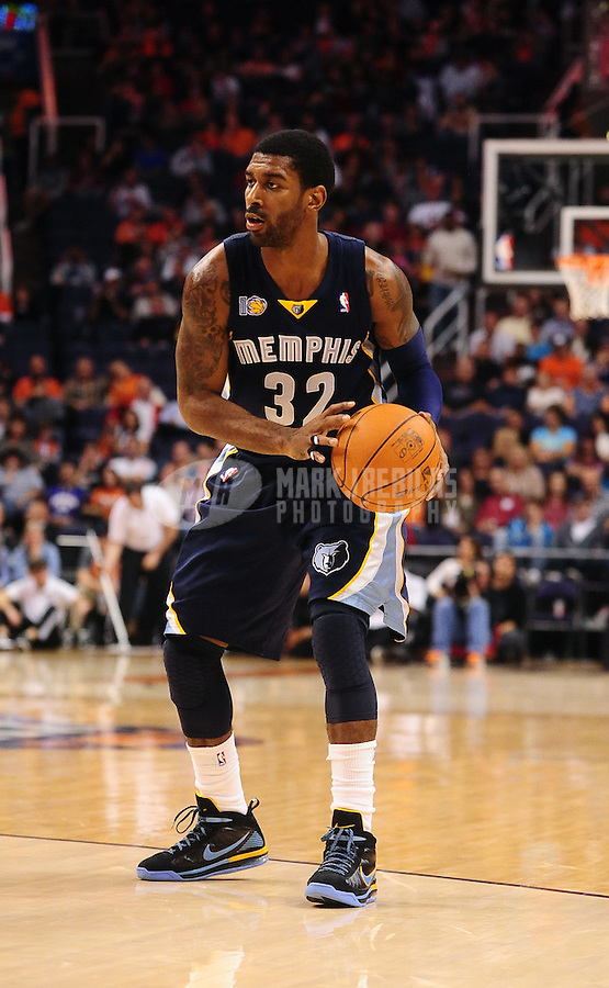 Dec. 8, 2010; Phoenix, AZ, USA; Memphis Grizzlies guard (32) O.J. Mayo against the Phoenix Suns at the US Airways Center. Memphis defeated Phoenix 104-98 in overtime. Mandatory Credit: Mark J. Rebilas-