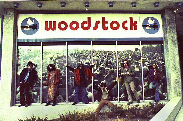 Fans / Hippies in front of the Woodstock movie poster in Boston in 1969.<br /> ** NO TABLOIDS / SKIN MAGS ** HIGHER RATES APPLY **<br /> © RTSimon / MediaPunch