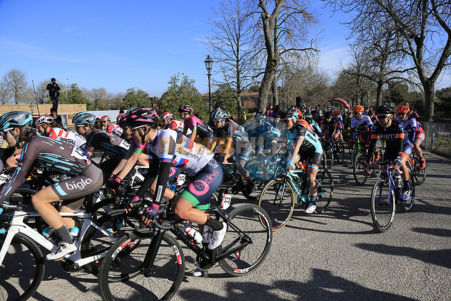 The start of the Strade Bianche Women Elite 2019 running 133km from Siena to Siena, held over the white gravel roads of Tuscany, Italy. 9th March 2019.<br /> Picture: Eoin Clarke | Cyclefile<br /> <br /> <br /> All photos usage must carry mandatory copyright credit (© Cyclefile | Eoin Clarke)