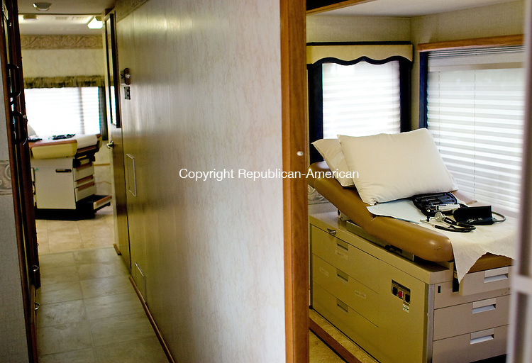 WATERBURY, CT-  23 August 2010-082310BF01-- The interior of the new Malta House of Care mobile medical van. The 38-foot converted recreational vehicle has two exam rooms, a triage area and computerized record keeping to provide medical care to the uninsured at four area parishes. It was blessed Monday morning in the parking lot of Sacred Heart Church-Sagrado Corazon Church in Waterbury by Archbishop Henry J. Mansell.   Bob Falcetti Republican-American