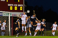 FC Kansas City midfielder Jen Buczkowski (6) goes up for a header with Sky Blue FC defender Christie Rampone (3). Sky Blue FC and FC Kansas City played to a 2-2 tie during a National Women's Soccer League (NWSL) match at Yurcak Field in Piscataway, NJ, on June 26, 2013.