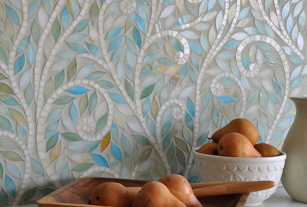 Climbing Vines, a jewel glass waterjet mosaic, is shown in Aquamarine leaves and Quartz vines, is part of the Silk Road® collection by New Ravenna.