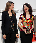 Princess Letizia of Spain attends the 'El Barco de Vapor' literature awards in the presence of a winner the mexican writer Veronica Munguia.April 9, 2013.(ALTERPHOTOS/Acero)