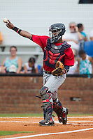 Elizabethton Twins catcher Brian Navarreto (24) makes a throw to third base following a strikeout during the game against the Johnson City Cardinals at Cardinal Park on July 27, 2014 in Johnson City, Tennessee.  The game was suspended in the top of the 5th inning with the Twins leading the Cardinals 7-6.  (Brian Westerholt/Four Seam Images)