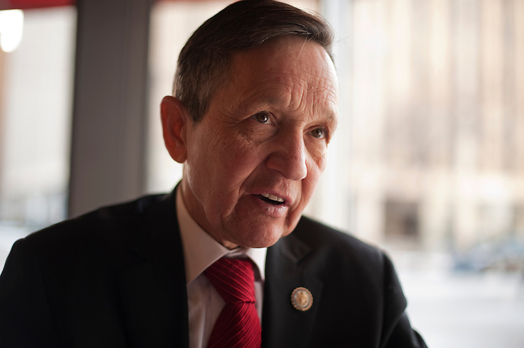 UNITED STATES - FEBRUARY 13:  Rep. Dennis Kucinich, D-Ohio, is interviewed by Roll Call at a restaurant in Lakewood, Ohio. Kucinich and Rep. Marcy Kaptur, D-Ohio, are running for the OH-09 seat after the state lost two seats due to reapportionment.  (Photo By Tom Williams/CQ Roll Call)