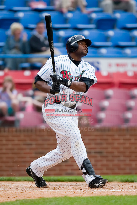 Brandon Allen (22) of the Winston-Salem Warthogs  watches the flight of his solo home run versus the Frederick Keys at Ernie Shore Field in Winston-Salem, NC, Sunday, April 20, 2008.