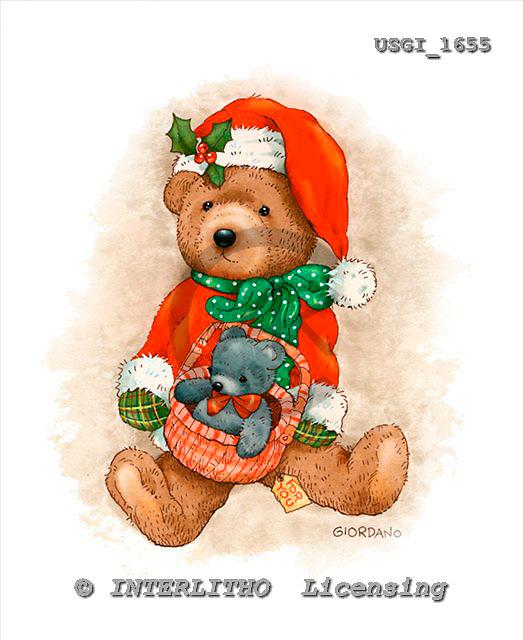 GIORDANO, CHRISTMAS ANIMALS, WEIHNACHTEN TIERE, NAVIDAD ANIMALES, Teddies, paintings+++++,USGI1655,#XA#