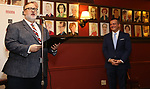 Gabriel Stelian-Shanks and Stan Ponte attends the 2018 Drama League Awards nominees at Sardi's on April 18, 2018 in New York City.