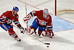 6 February 2007: Montreal Canadiens goaltender David Aebischer of Switzerland makes a save against the Carolina Hurricanes at the Bell Centre in Montreal, Canada. The Hurricanes defeated the Canadiens 2-1.....Mandatory Photo Credit: Ed Wolfstein *** Editorial Sales through Icon Sports Media *** www.iconsportsmedia.com
