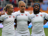 Natasha Hunt, Kay Wilson and Maggie Aplhonsi during the anthems. WRWC England v Canada, World Cup Final at Stade Jean Bouin, Avenue du Général Sarrail, Paris, France, on 17th August 2014