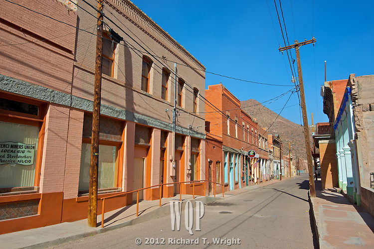 An empty street in the virtually abandoned town of Clifton, Arizona, vacated after a miner's strike against a copper mine.