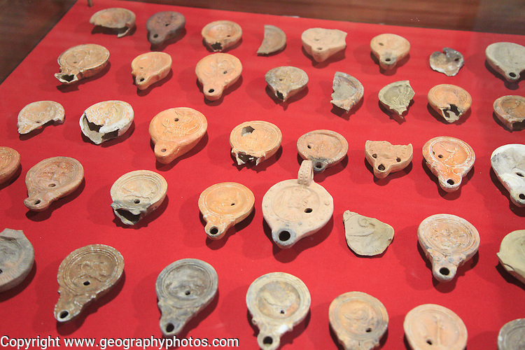 Clay oil lamps, Museo Nacional de Arte Romano, national museum of Roman art, Merida, Extremadura, Spain