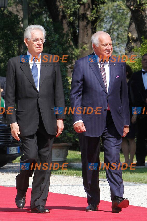 Mario Monti e Vàclav Klaus.Roma 18/09/2012 Il Presidente del Consiglio incontra a Villa Pamphilj, il Presidente della Repubblica Ceca.Photo Samantha Zucchi Insidefoto