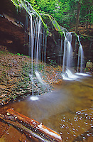Onedia Falls in Rickett's Glen State Park flows over a ledge in the Glens Natural Area, Luzern County, Pennsylvania