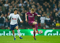 Manchester City Kevin De Bruyne and Tottenham's Dele Alli during the Premier League match between Tottenham Hotspur and Manchester City at Wembley Stadium, London, England on 14 April 2018. Photo by Andrew Aleksiejczuk / PRiME Media Images.