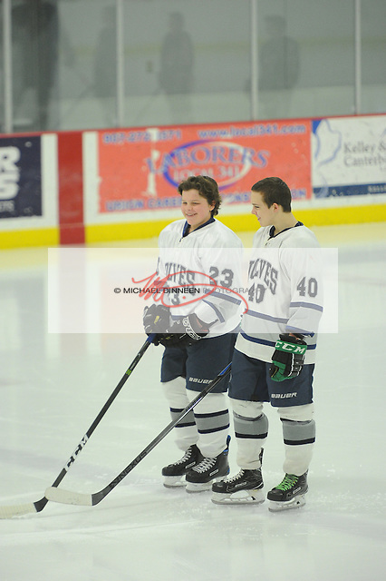 From left, brothers Brayden and Logan Rachow suited up for the Wolves' varsity matchup with Kenai.  January 21, 2017 at the McDonald Center.  With Brayden's callup from JV, the brothers played together for the Wolves on Saturday.  Photo for the Star by Michael DinneenPhoto for the Star by Michael Dinneen