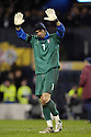 17/11/2007      Copyright Pic: James Stewart.File Name : sct_jspa16_scotland_v_italy.BUFFON WAVES TO THE SCOTLAND FANS AT THE END.......James Stewart Photo Agency 19 Carronlea Drive, Falkirk. FK2 8DN      Vat Reg No. 607 6932 25.Office     : +44 (0)1324 570906     .Mobile   : +44 (0)7721 416997.Fax         : +44 (0)1324 570906.E-mail  :  jim@jspa.co.uk.If you require further information then contact Jim Stewart on any of the numbers above........