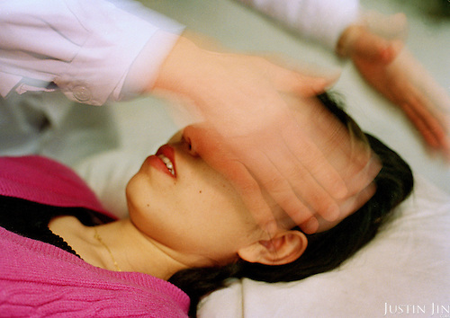 Hypnosis performed on a depressive woman...Photo taken March 2000