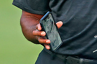 Tiger Woods (USA) has a photo of his kids on his cell phone as his screen saver as he walks the 8th hole during the second round of the 100th PGA Championship at Bellerive Country Club, St. Louis, Missouri, USA. 8/11/2018.<br /> Picture: Golffile.ie | Brian Spurlock<br /> <br /> All photo usage must carry mandatory copyright credit (© Golffile | Brian Spurlock)
