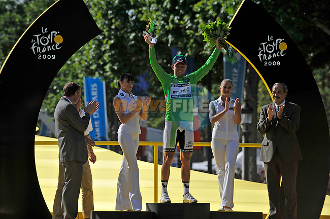 Green Jersey winner Thor Hushovd (NOR) Cervelo Test Team on he podium at the end of the final Stage 21 of the 2009 Tour de France running 164km from Montereau-Fault-Yonne to Paris Champs-Elysees, France. 26th July 2009 (Photo by Eoin Clarke/NEWSFILE)
