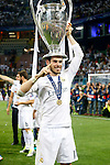 Real Madrid's Garet Bale celebrates the victory in the UEFA Champions League 2015/2016 Final match.May 28,2016. (ALTERPHOTOS/Acero)