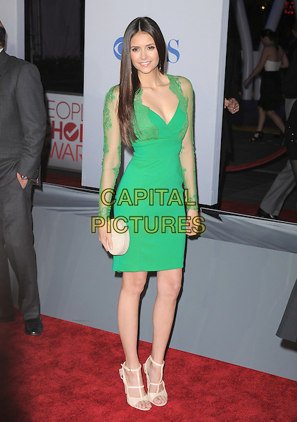 Nina Dobrev.People's Choice Awards 2012 held at Nokia Live in Los Angeles, California, USA..January 11th, 2012.full length green dress lace sleeves clutch bag cream .CAP/RKE/DVS.©DVS/RockinExposures/Capital Pictures.