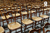 Row of chairs in church (Licence this image exclusively with Getty: http://www.gettyimages.com/detail/73013975 )