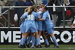 06 December 2009: North Carolina's Jessica McDonald (2nd from right) celebrates her first half goal with teammates. The Stanford University Cardinal played the University of North Carolina Tar Heels at Aggie Soccer Stadium in College Station, Texas in the NCAA Division I Women's College Cup Championship game.