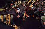 Stockholm 2014-10-02 Ishockey Hockeyallsvenskan AIK - BIK Karlskoga :  <br /> Alexander &quot;The Mauler&quot; Gustafsson intervjuas i AIK:s TV i en periodpaus<br /> (Foto: Kenta J&ouml;nsson) Nyckelord:  AIK Gnaget Hockeyallsvenskan Allsvenskan Hovet Johanneshovs Isstadion Bofors BIK Karlskoga portr&auml;tt portrait TV intervju The Mauler