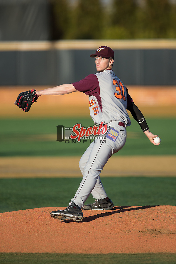 Virginia Tech Hokies starting pitcher Aaron McGarity (31) in action against the Wake Forest Demon Deacons in game two of a doubleheader at Wake Forest Baseball Park on March 7, 2015 in Winston-Salem, North Carolina.  (Brian Westerholt/Sports On Film)