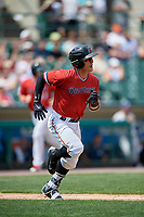 Rochester Red Wings second baseman Tommy Field (9) runs to first base during a game against the Columbus Clippers on August 9, 2017 at Frontier Field in Rochester, New York.  Rochester defeated Columbus 12-3.  (Mike Janes/Four Seam Images)