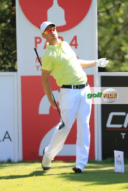 Jens Dantorp (SWE) on the 2nd tee during Thursday's Round 1 of The Open De Espana at The PGA Catalunya Resort. 15th May 2014.<br /> Picture:  Thos Caffrey / www.golffile.ie