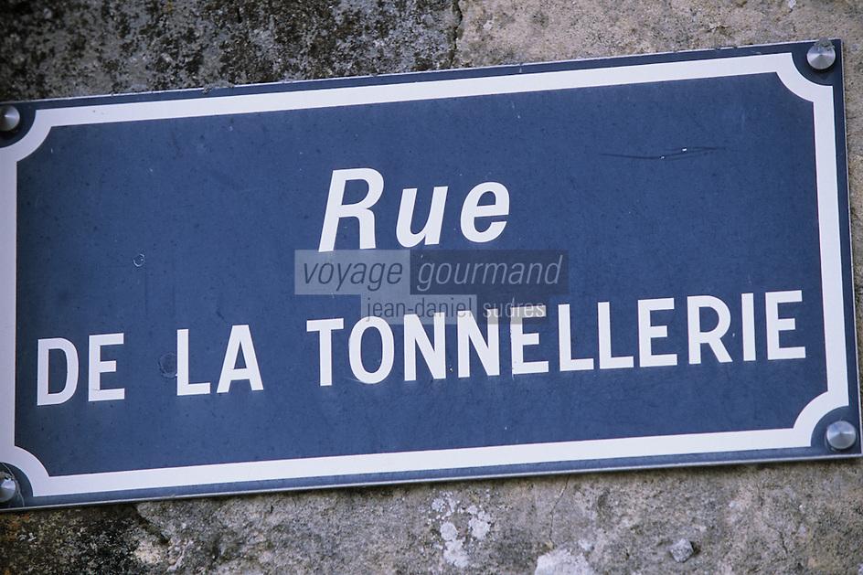 Europe/France/Aquitaine/33/Gironde/Saint-Estèphe: Détail d'une plaque de rue rue de la tonnellerie