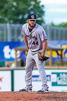 Kane County Cougars pitcher Cody Clark (44) on the mound during game one of a Midwest League doubleheader against the Wisconsin Timber Rattlers on June 23, 2017 at Fox Cities Stadium in Appleton, Wisconsin.  Kane County defeated Wisconsin 4-3. (Brad Krause/Four Seam Images)