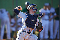 Georgetown Hoyas catcher Richie O'Reilly (11) throws down to second in between innings during a game against the Chicago State Cougars on March 3, 2017 at North Charlotte Regional Park in Port Charlotte, Florida.  Georgetown defeated Chicago State 11-0.  (Mike Janes/Four Seam Images)