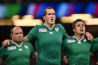 Devin Toner of Ireland sings the national anthem. Rugby World Cup Pool D match between France and Ireland on October 11, 2015 at the Millennium Stadium in Cardiff, Wales. Photo by: Patrick Khachfe / Onside Images