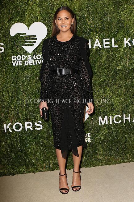 www.acepixs.com<br /> <br /> October 17 2016, New York City<br /> <br /> Chrissy Teigen arriving at the God's Love We Deliver Golden Heart Awards on October 17, 2016 in New York City. <br /> <br /> By Line: Nancy Rivera/ACE Pictures<br /> <br /> <br /> ACE Pictures Inc<br /> Tel: 6467670430<br /> Email: info@acepixs.com<br /> www.acepixs.com