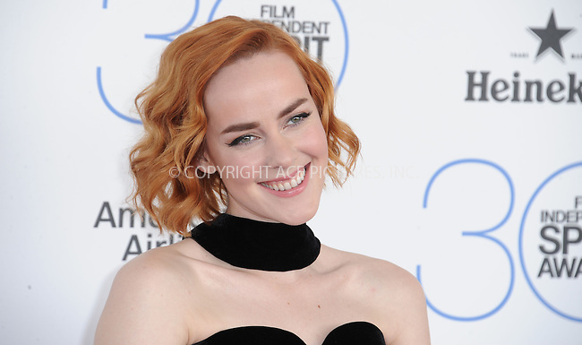 WWW.ACEPIXS.COM<br /> <br /> February 21 2015, LA<br /> <br /> Jena Malone arriving at the 2015 Film Independent Spirit Awards at Santa Monica Beach on February 21, 2015 in Santa Monica, California.<br /> <br /> By Line: Peter West/ACE Pictures<br /> <br /> <br /> ACE Pictures, Inc.<br /> tel: 646 769 0430<br /> Email: info@acepixs.com<br /> www.acepixs.com