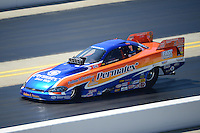 Apr. 14, 2012; Concord, NC, USA: NHRA top alcohol funny car driver Todd Veney during qualifying for the Four Wide Nationals at zMax Dragway. Mandatory Credit: Mark J. Rebilas-