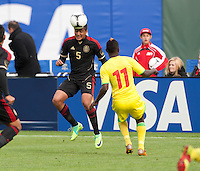 San Francisco, California - Saturday March 17, 2012: Darvin Chavez heads the ball during the Mexico vs Senegal U23 in final Olympic qualifying tuneup. Mexico defeated Senegal 2-1